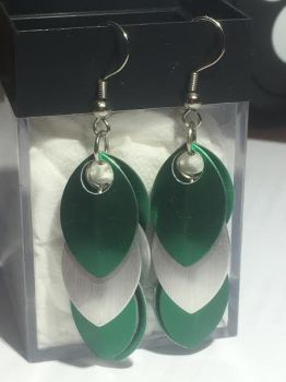 Slytherin-Inspired Scalemail Earrings by A-Passionate-Flame