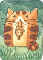ACEO ATC Mother with kitten in the woods by Siriliya