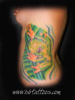 Frog Side Tattoo by blrtattoos