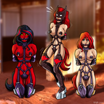 Red Ponygirls (Commission) by Re-Maker