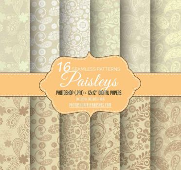 16 Indian Paisley Patterns on Brown Paper Texture by fiftyfivepixels