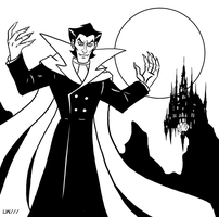 Dracula bw - Batman vs Dracula by Logna