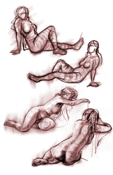 Life Drawing - Red ladies by Coldsnapped