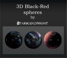 3D black red spheres by starscoldnight by StarsColdNight