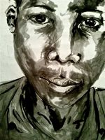 African boy watercolour by brunonade