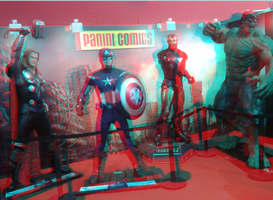 Avengers at the Panini Comics booth in 3D Anaglyph by xmancyclops