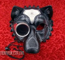 Steampunk Wolf Leather Mask by merimask