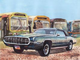 1968 Ford Thunderbird In Bus Graveyard by FastLaneIllustration