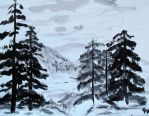 Mountain Landscape -Sumi-E Painting Study- by Ren-ou