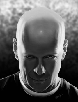 Bruce Willis bw version by r3cycled