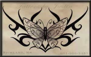 tribal butterfly tattoo design by jacksonmstattoo