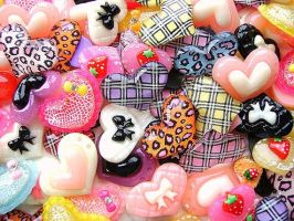 Kawaii Cabochons 135 Hearts by souzoucreations