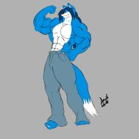 Flexing Buffwolf by GoldPaladinSevlow
