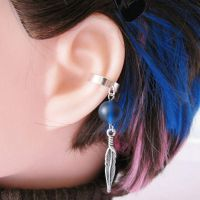 Blue Feather Ear Cuff by merigreenleaf