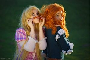 Rapunzel and Merida by Childishx