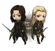 LOTR: Aragorn and Legolas Chibi by Angels-Leaf
