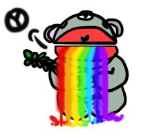 raibow vomitting koala by peachieva
