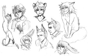 kemonomimi sketches by Kairek