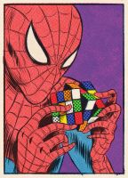 Spiderman is playing with a Rubik cube by S9TXE