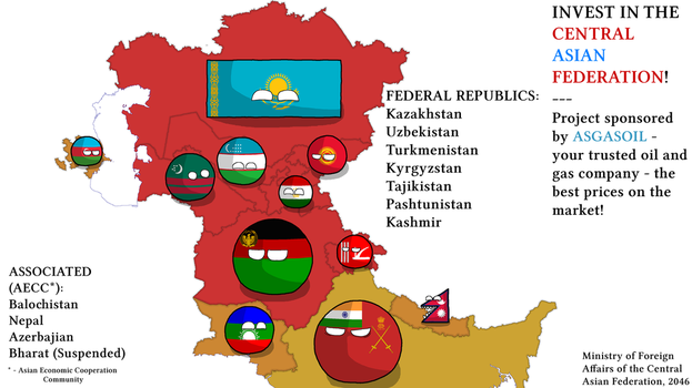 The Central Asian Federation: Countryballs by WhiteEaglePL