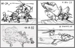 cartoon aircrafts sketches by 14-bis