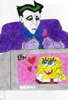 Joker's watching Spongebob by xero87