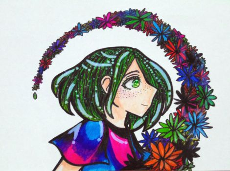 Green haired girl by Deaaanbl