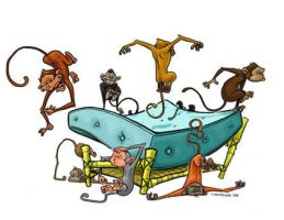 Monkeys Jumping on the Bed by andrewchandler80