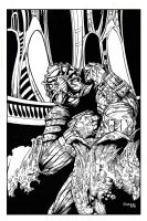 Facehugger Attack - inks by kevinenhart