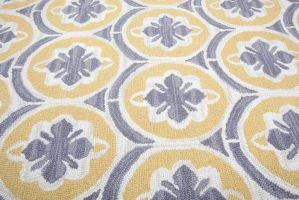 Hand Tufted ModernYellow Blue floral Rug by wholesalerugs