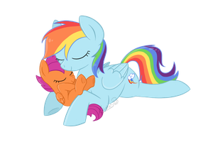 Small Bird Horses Cuddling by ScarletAddendum