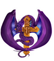 Dragon With Cross Logo Commission-FINISHED by XRosewaterX