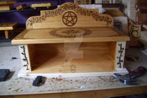 Celtic wicca altar WIP by WOODEWYTCH