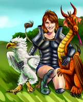 My cousin with a dragon and a gryffin by king-ghidorah