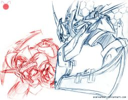 Freesketch 72: Renekton vs Kha'zix by everwander