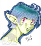 OOAK Traditional Marker Drawing Green Lady by kuroitenshi13