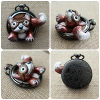 Mel, the Steampunk Fox Pocket Watch by chromegoddess