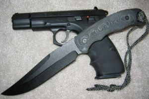 CZ 75 B pistol and combat knife by nuclearwar3