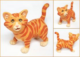 Orange Tabby Kitten Sculpture by LeiliaClay