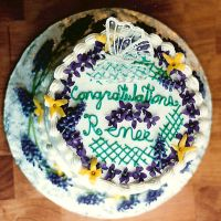 purple yellow  butterfly cake by peaceocake