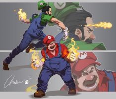 Mario and Luigi by am-bearre