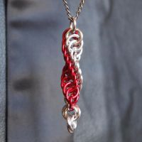 Red and Silver DNA Pendant / KeyChain by ofmyhats