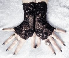 Nephthys Long Lace Fingerless Gloves by ZenAndCoffee