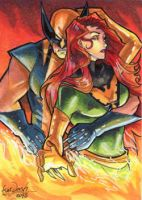 Commission: Wolverine and Phoenix by skardash