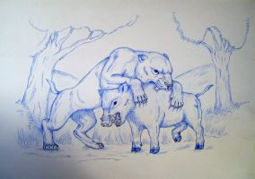 Smilodon VS Boar by Javor911