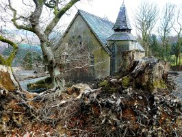 Deserted chapel and stump. by J-Philip