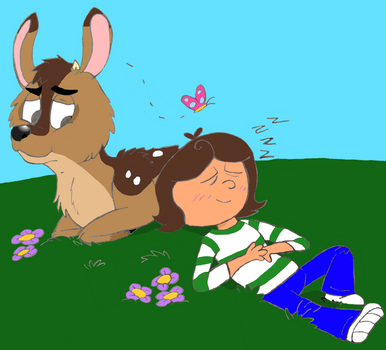 Me and my Deer Friend (colored) by gummydog by Lizlovestoons12