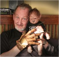 Robert Englund cuddles Ezra the WerePup by WerePups