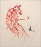 Tribal Fire Wolf by Fluffy-n-Wolf