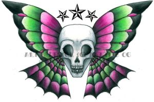 """Skulterfly"" Tattoo Design by poinsetta"